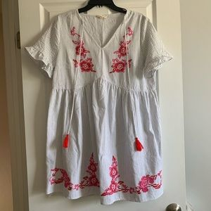 Tickled pink cotton embroidered dress
